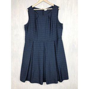 Eshakti plaid fit and flare pleated dress 24w blue